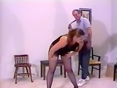 Fat bottomed charmer in sex stockings needs a good ass whipping