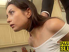 Brunette slut needs to be taught her place before anal