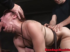 Ginger cocksucker submitted in maledom trio