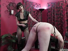 Femdom with pain pig boots cbt spanking