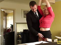 BDSM milf brit instructed to ride by maledom