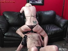Strap on and cock torture after long pussy worship