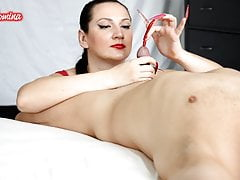Red and Pink Nails Handjob Insertion