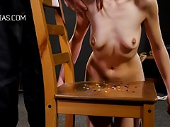Cruel boob whipping for redhead