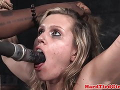 Tiedup bdsm submissive chokes on dildo